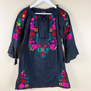 Atmosphere Black Boho Embroidered Tunic Top
